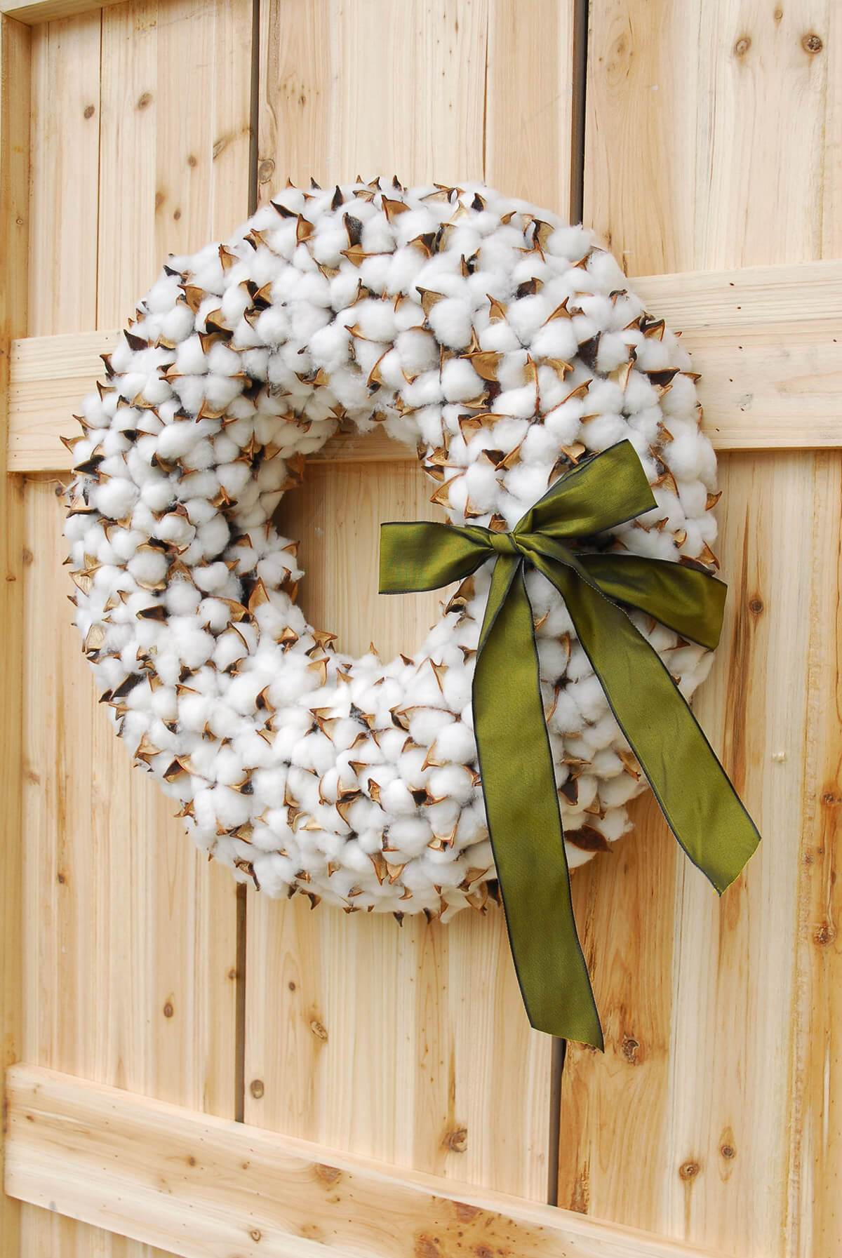 Faux Cotton Wreath 18.5in