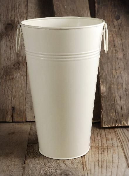 "White French Flower Market 11"" Bucket Cream White"