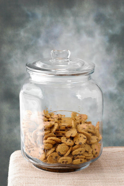 glass cookie jar large 8 25 x 12in