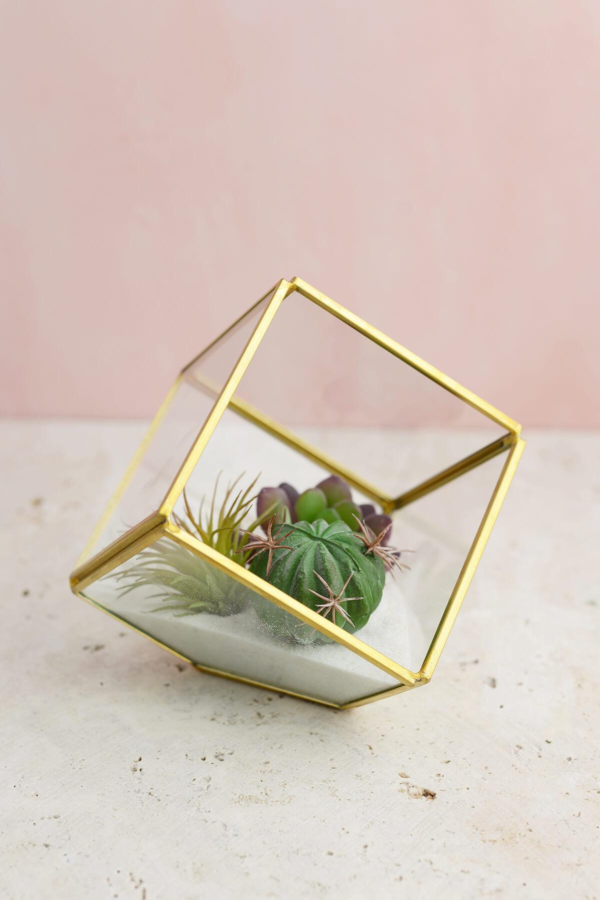 Glass Terrarium Cube Brass 3.875in