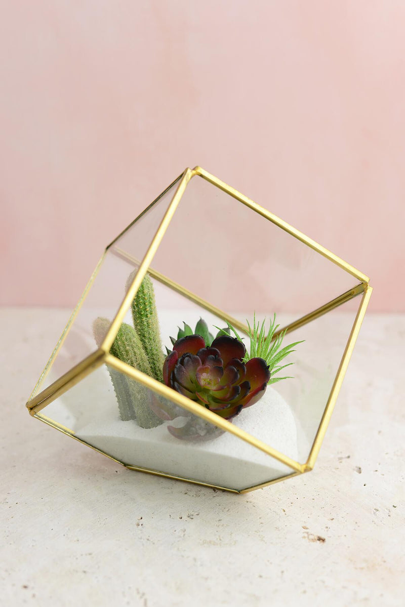 Glass Terrarium Cube Brass 4.7in