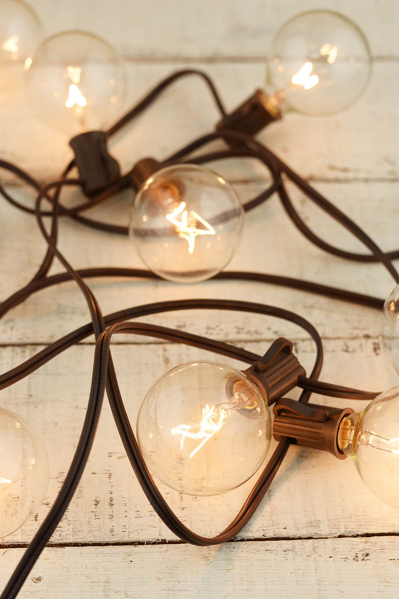 Globe String Lights Brown Wire 9ft - 10ct- 12in Spacing