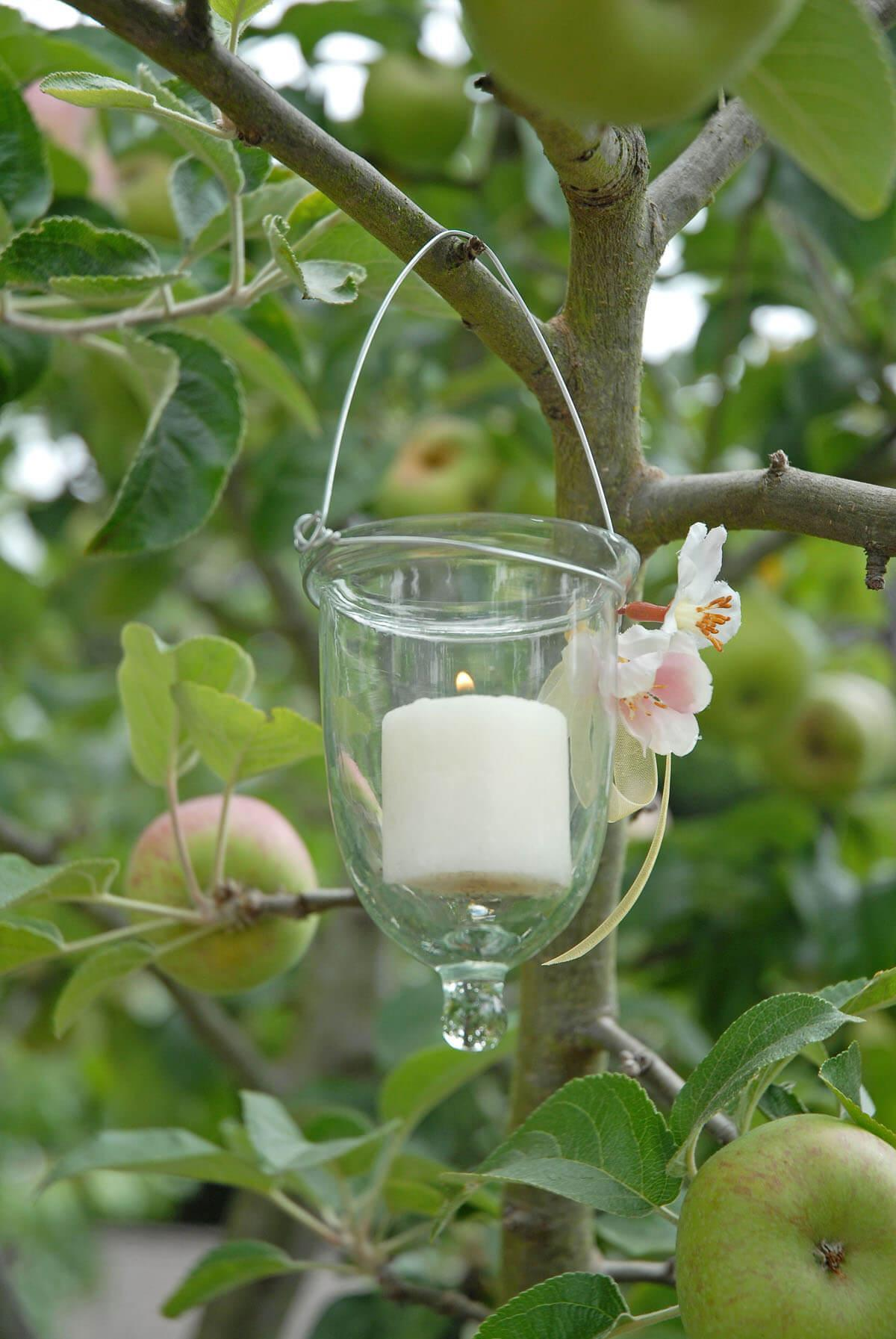 6 glass hanging votive holders
