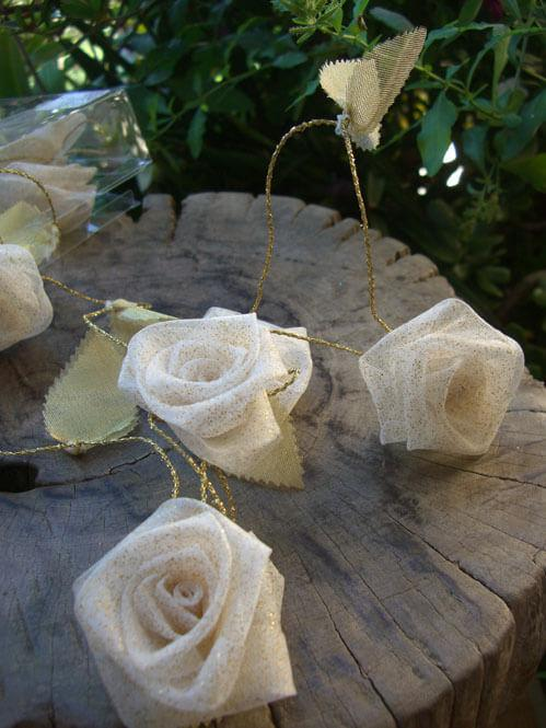 Ivory & Gold Ribbon Rose Garland  9ft
