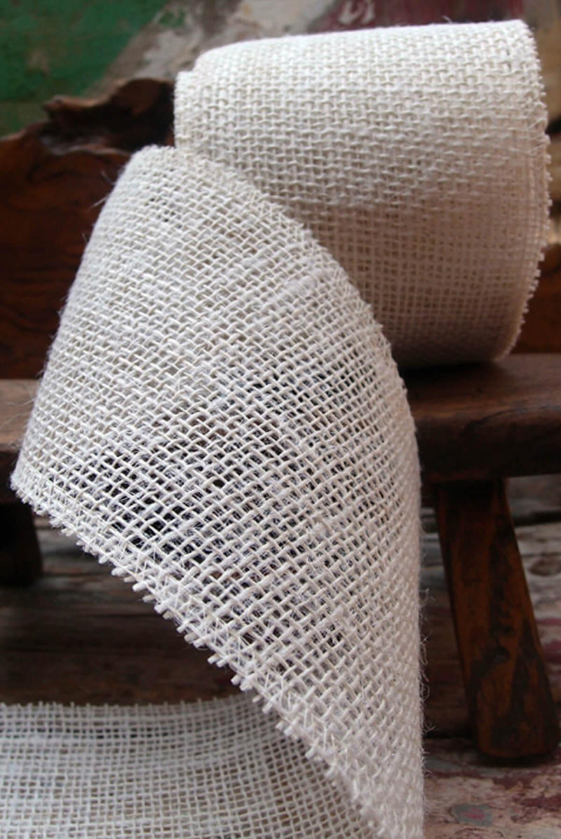 "Ivory White Burlap Ribbon  4"" wide x 10 yards"