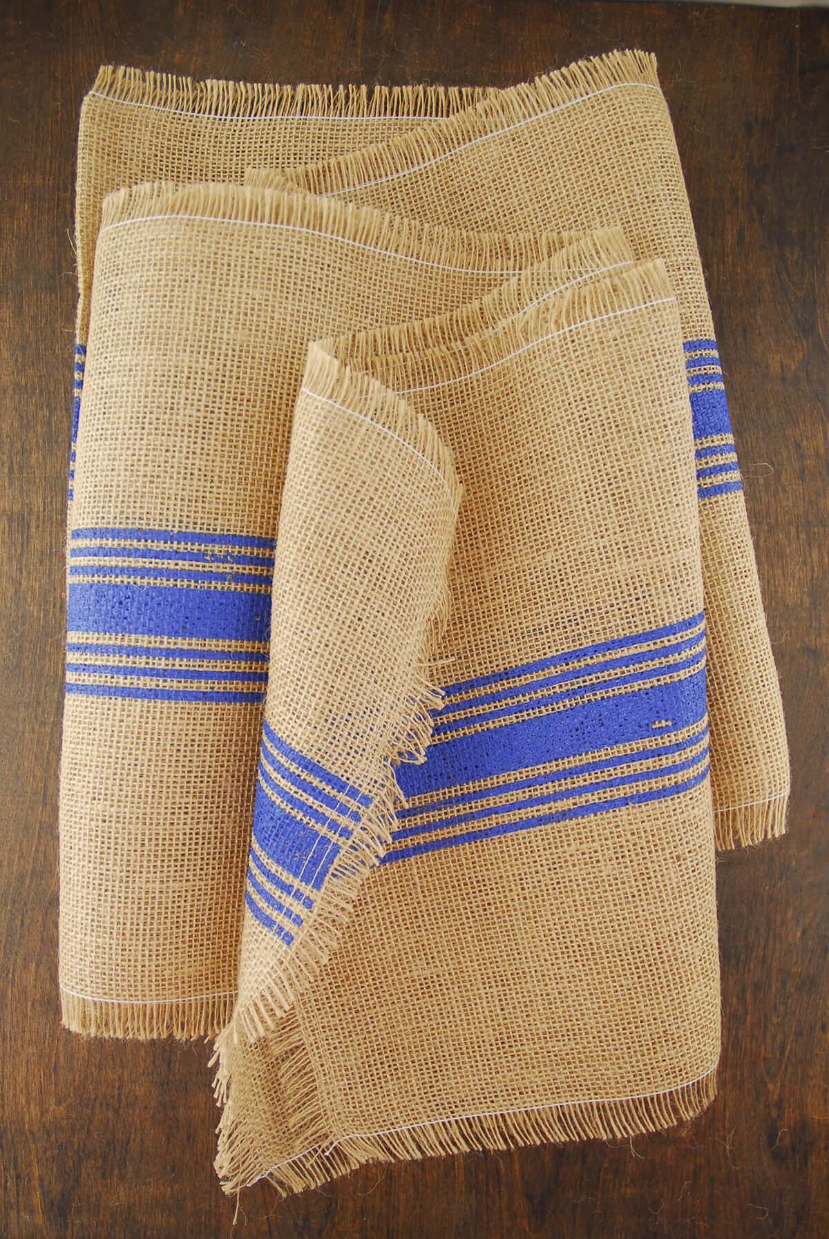 blue striped burlap runner 12 5 x 108