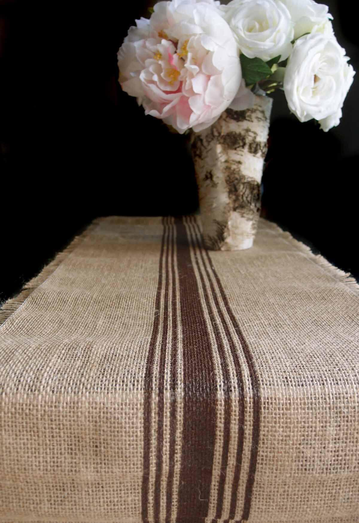 brown striped burlap runner 12 5 x 9 feet