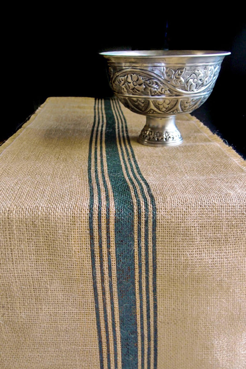 Green Striped Burlap Runner 12.5 x 9 Feet