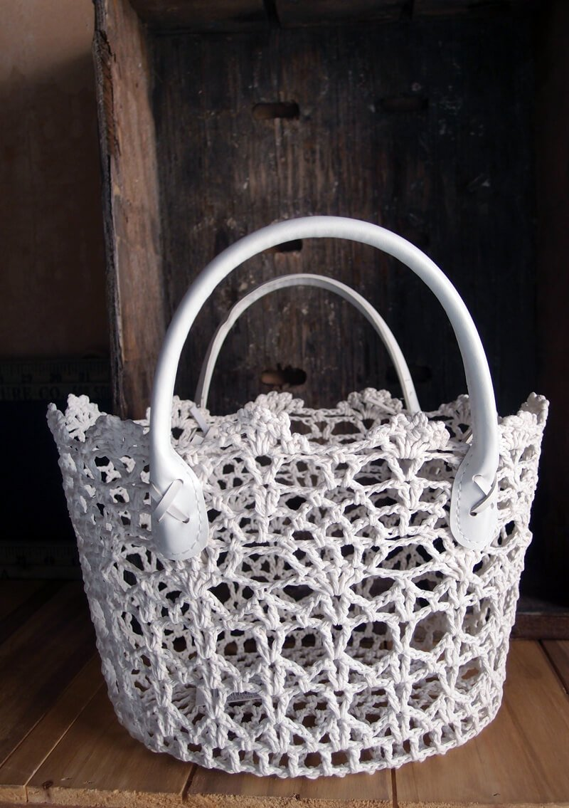 Stiffened White Lace Basket 10x10