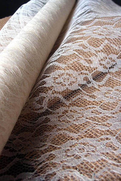 white chantilly lace table runner 14 wide x 10 yards