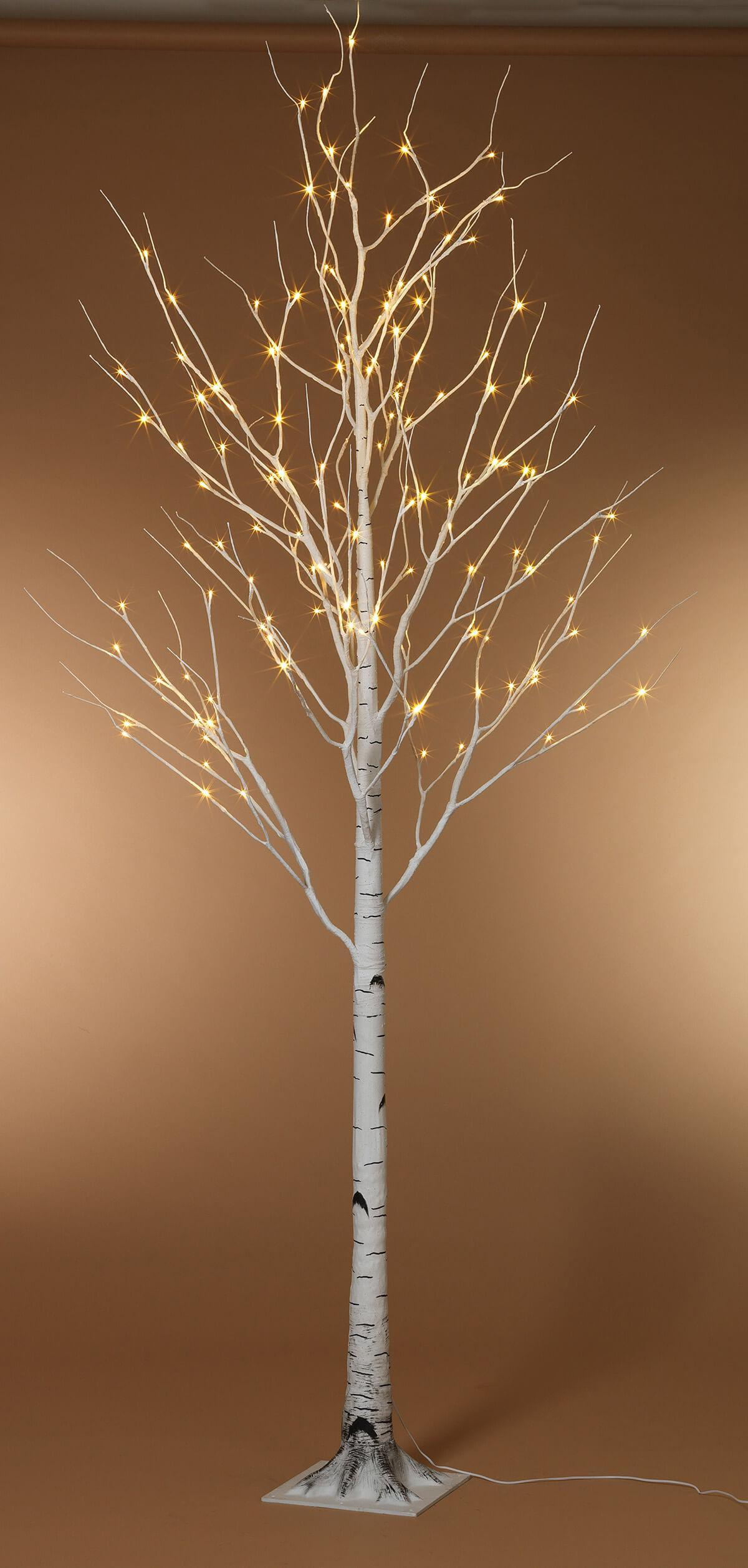 8 Foot LED Lighted Birch Tree Warm White