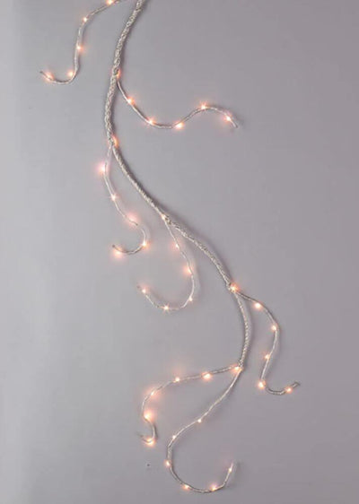 lighted garland 6ft 60 led lights battery operated silver wrapped