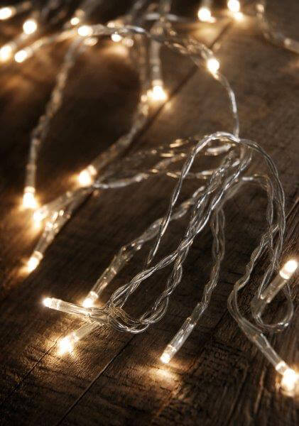 Warm White LED Light Strand  Micro Lights 13.5' Battery Operated