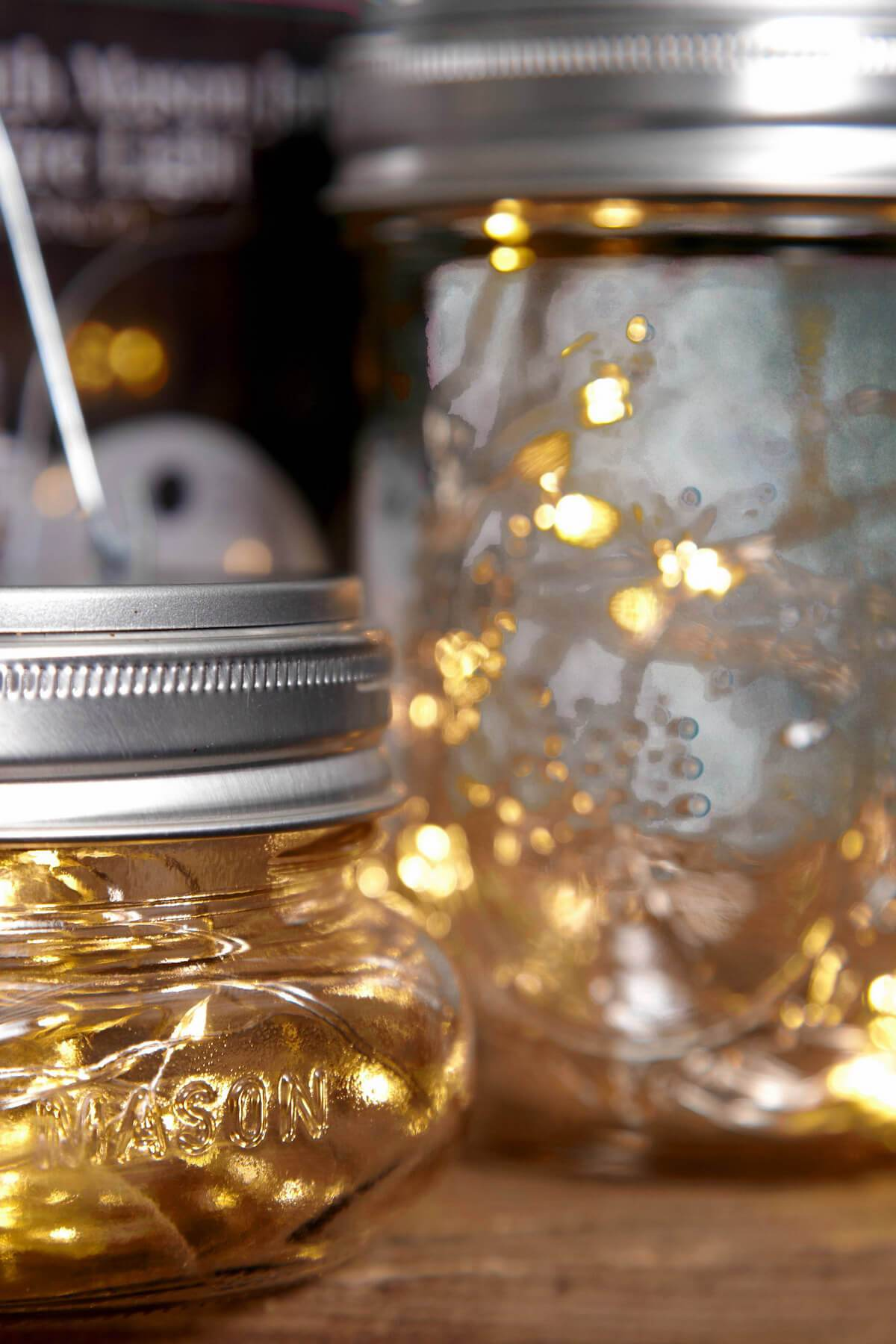 Mason Jar Lights  Fairy Lights Battery Op. Warm White (fits a Wide Mouth Mason Jar)