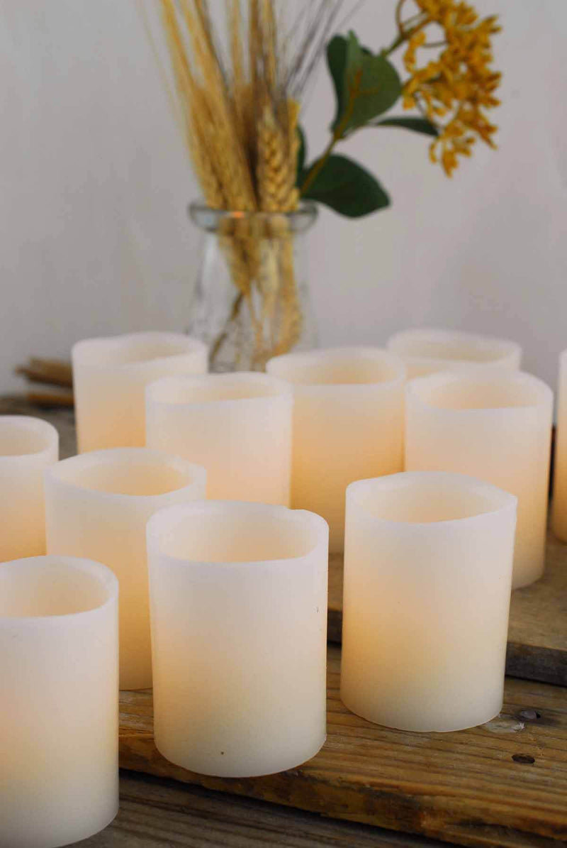 12 led wax votive candles 2x2 5in