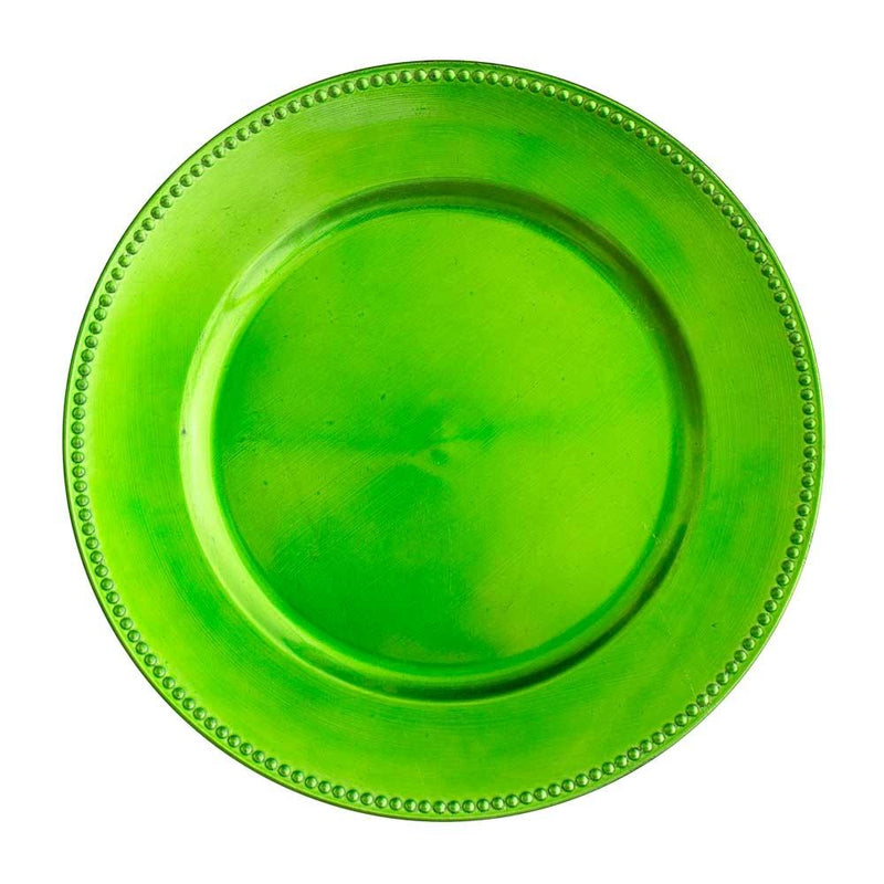 "Richland Beaded Charger Plate 13"" Lime Green"