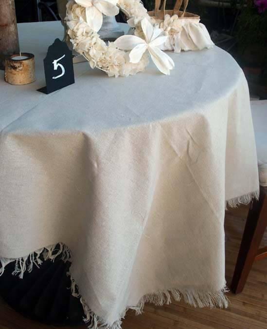 Linen Table Cloth with Fringe Edge 54 x 54 Square