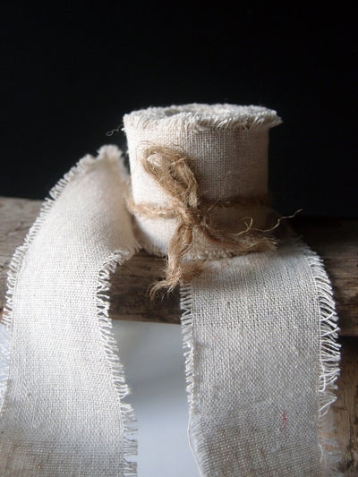 "Linen Ribbon Natural 2"" wide x  5 yds"