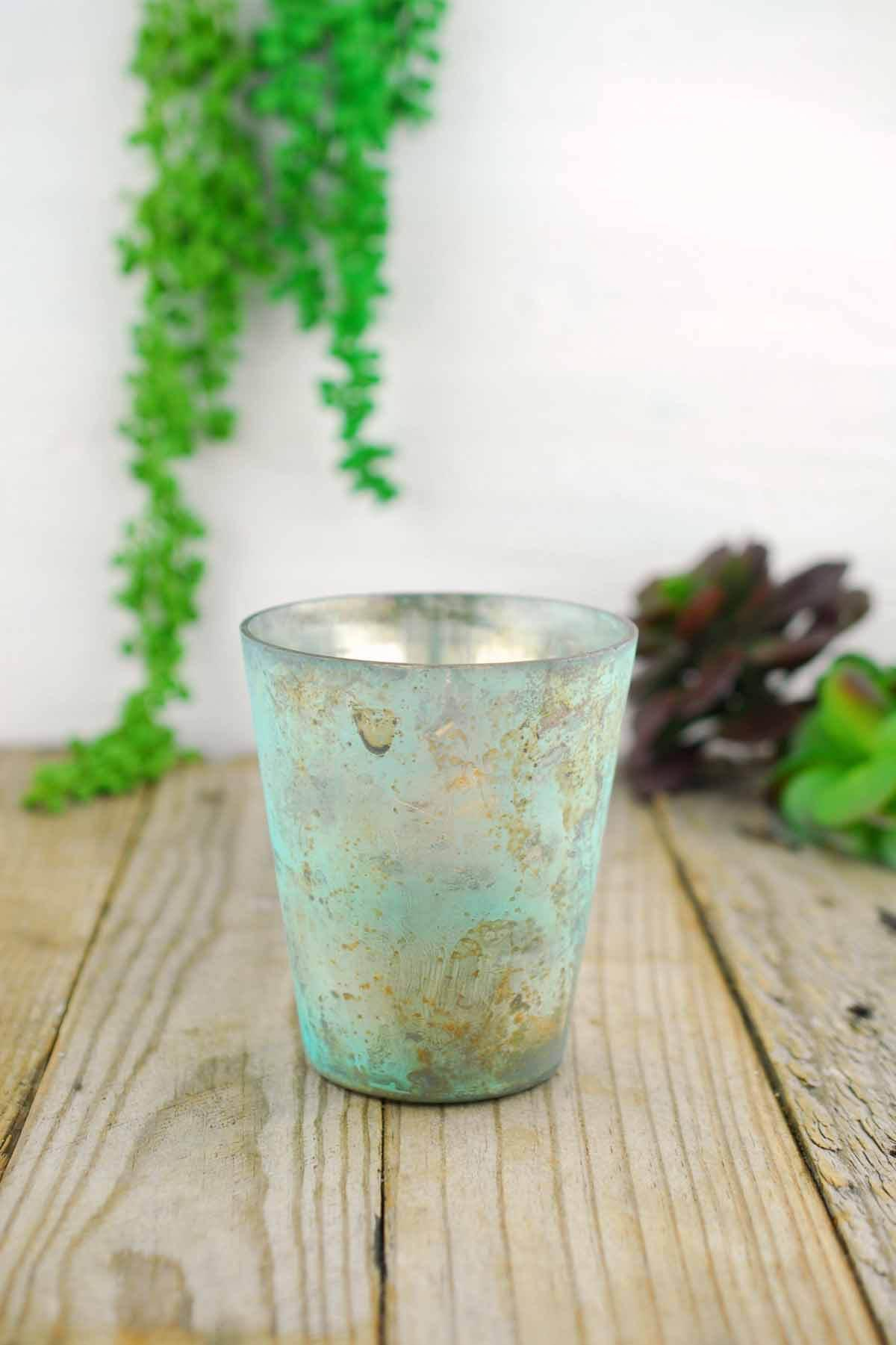"Sassi Votive Holder Marbled Turquoise 4"" - Single Glass Replacement"