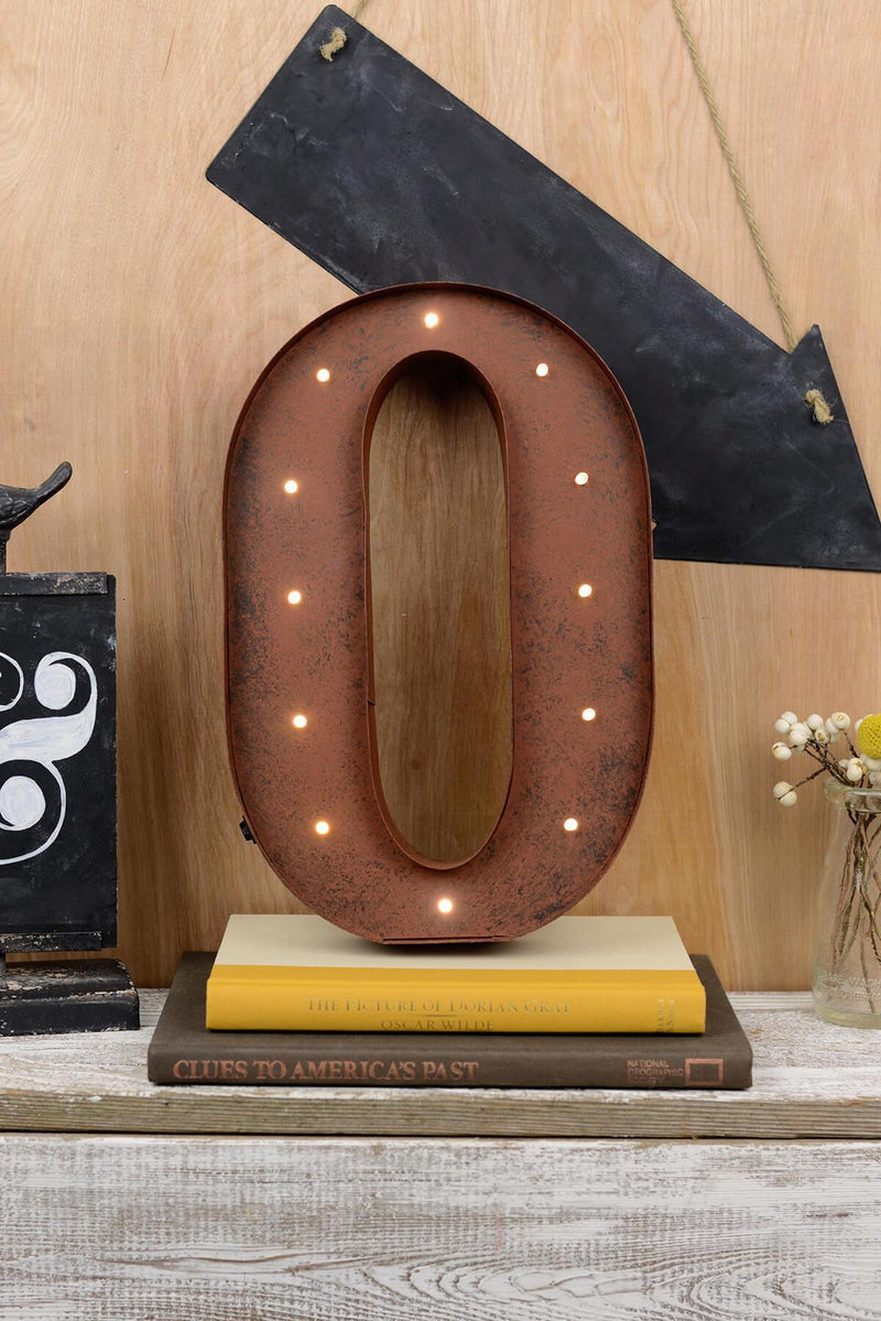 Marquee Letters O 12in Battery Operated 17 Warm White LED Lights