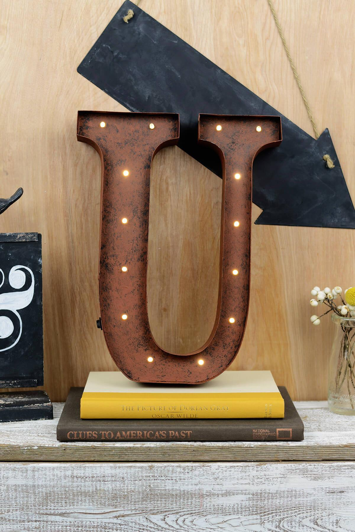 Marquee Letters U 12in Battery Operated 17 Warm White LED Lights