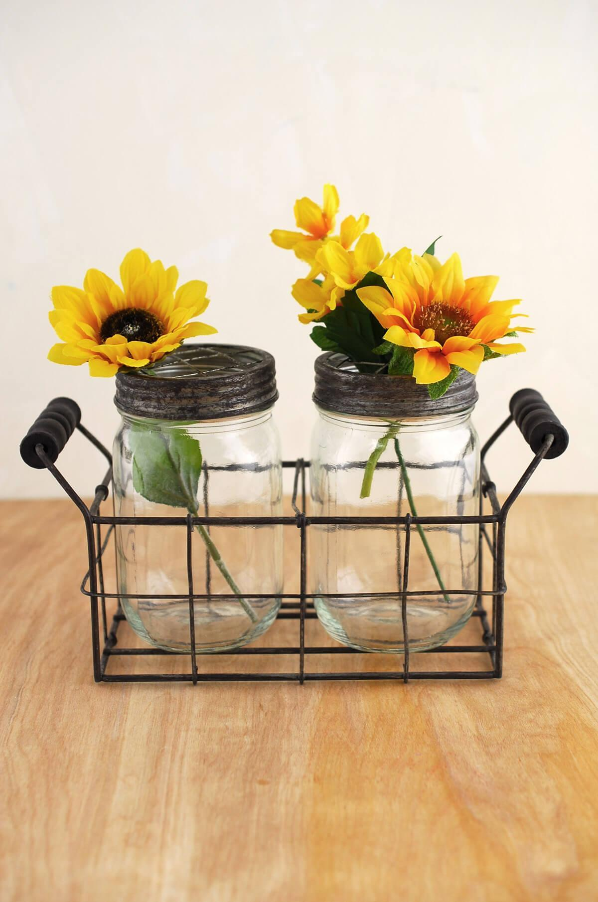 mason jar vase with frog lid set of 2 jars