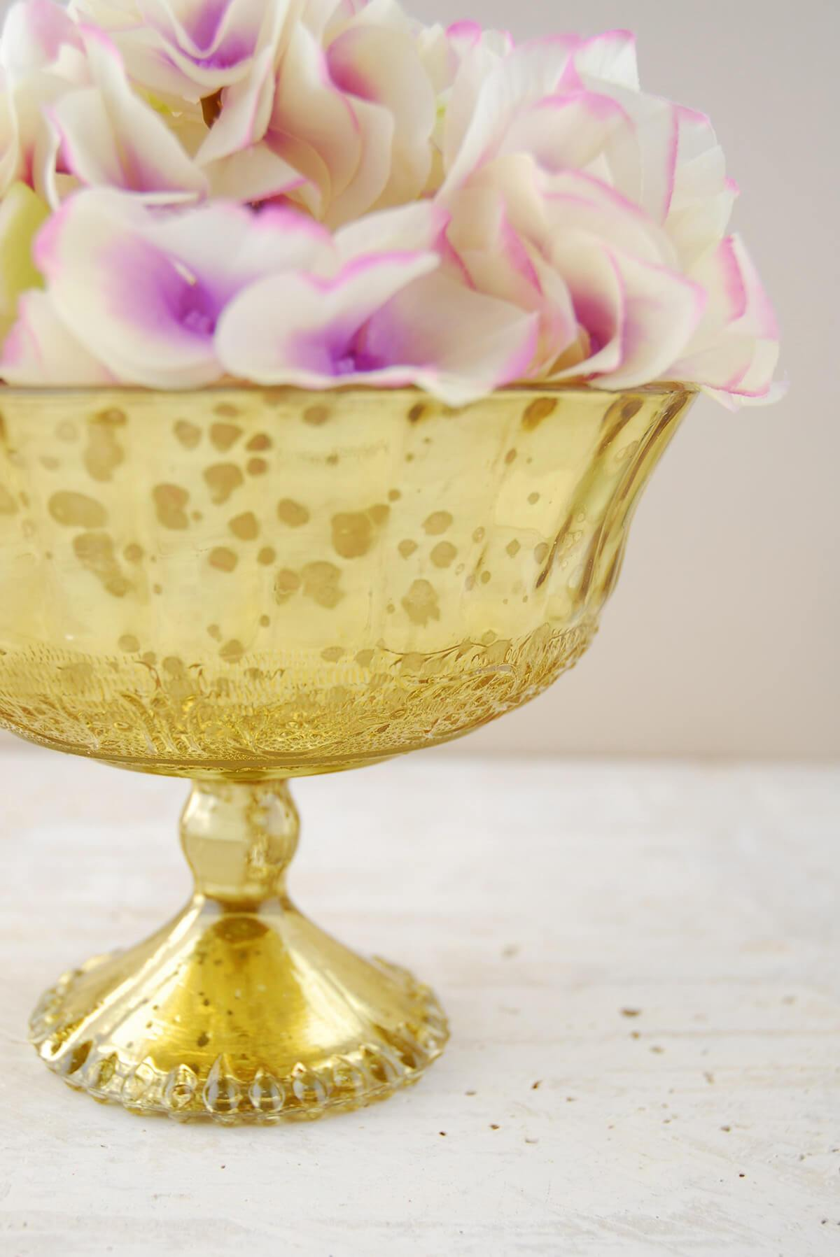 Mercury Glass Compote Gold 7x5 25in Quick Candles