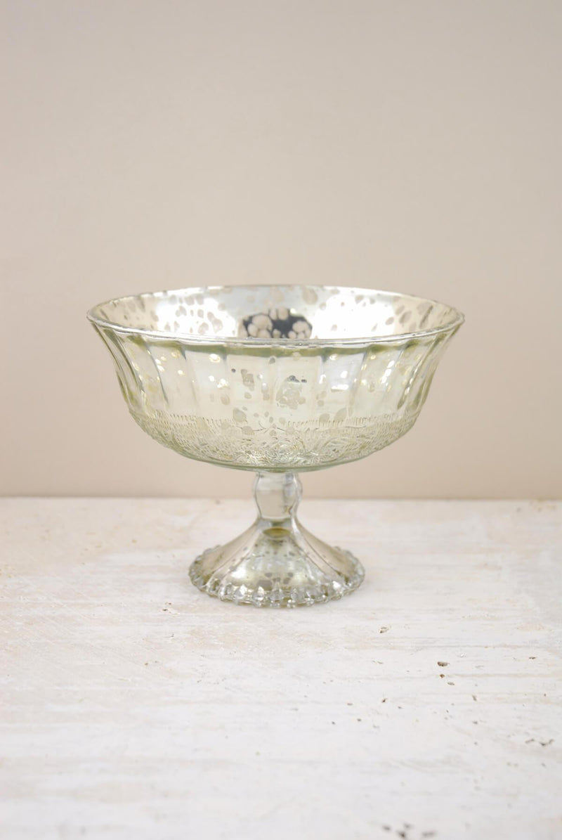 "Silver Mercury Glass Compote 7"" x 5"""