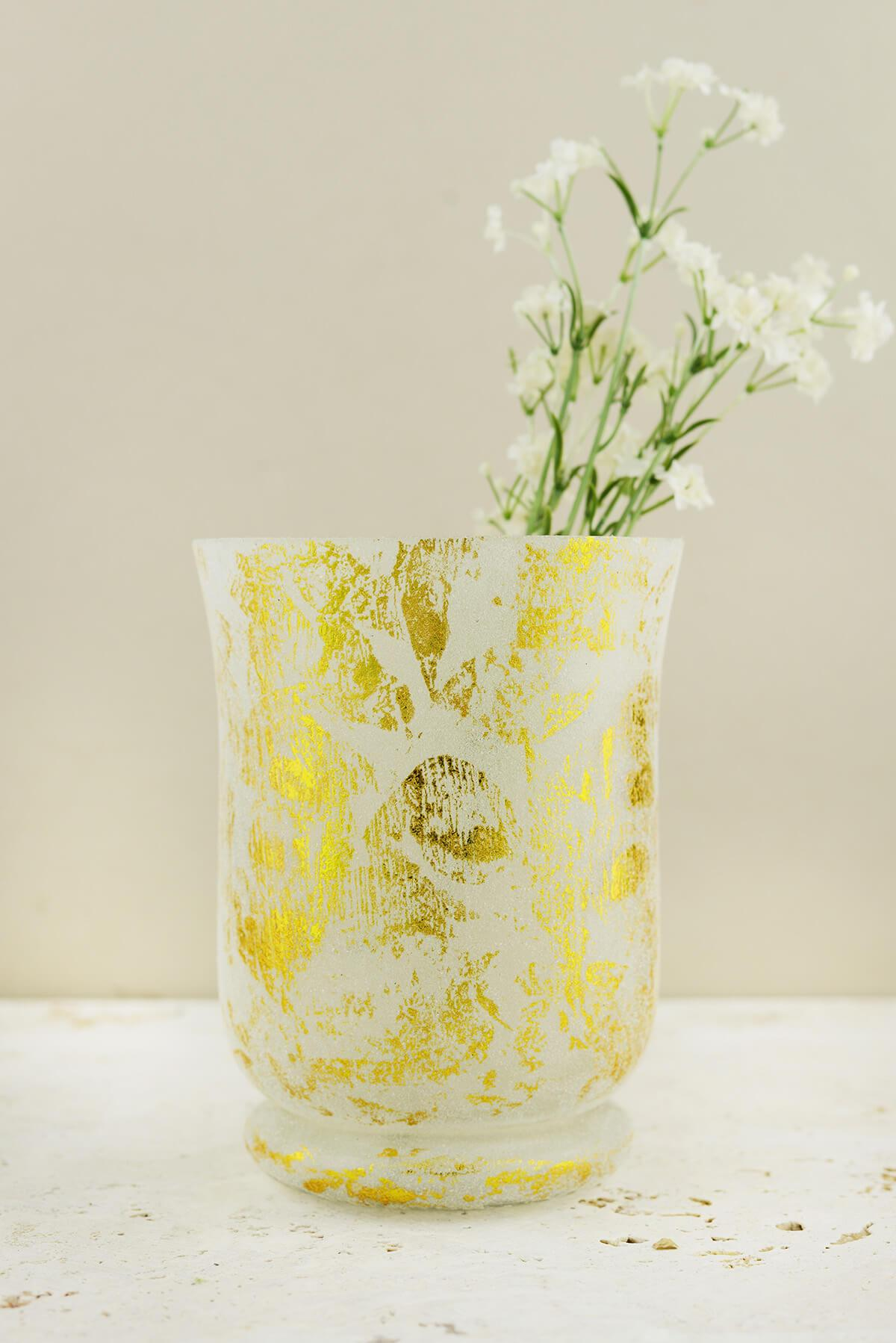 Frosted Gold Glass Hurricane Vase & Candleholder 6""