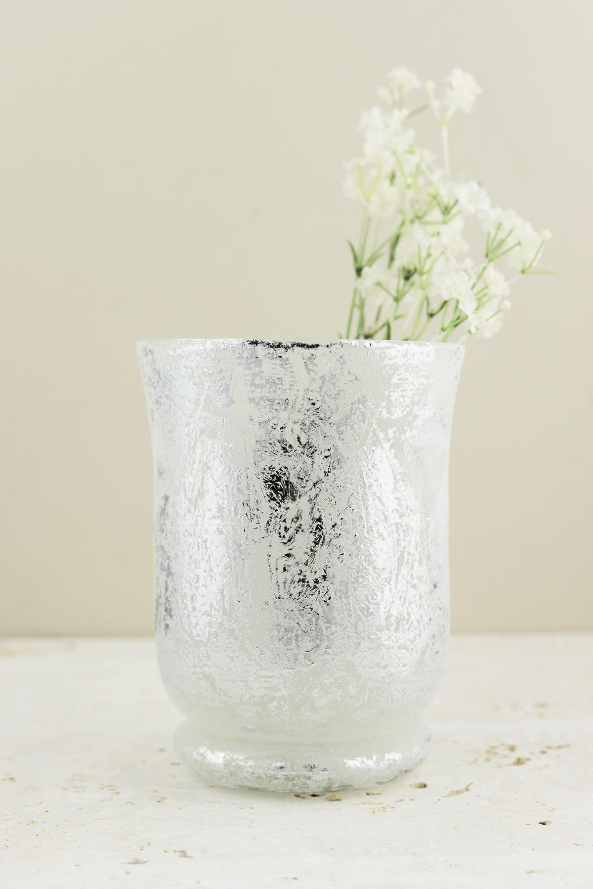 frosted mercury glass hurricane vase candleholder 6