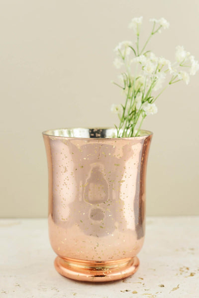 blush rose gold mercury glass vase candleholder 6in