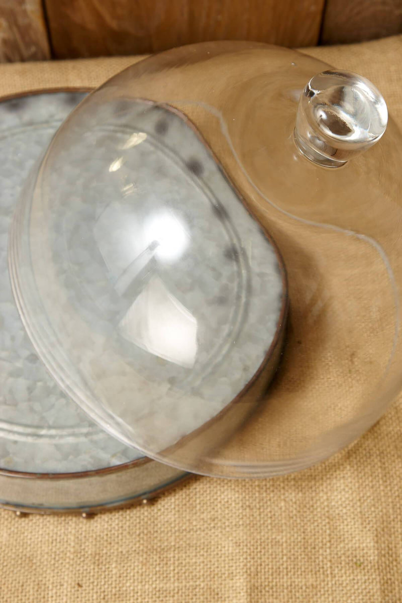metal cake stand with glass cloche 10 5x8in