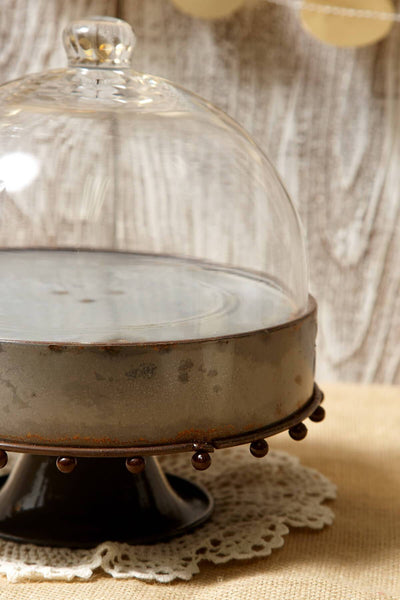 Metal Rustic Zinc Cake Stand with Glass Cloche 8.25in