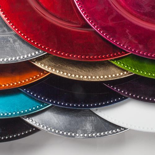 "Richland Beaded Charger Plate 13"" Sample Pack Set of 12"