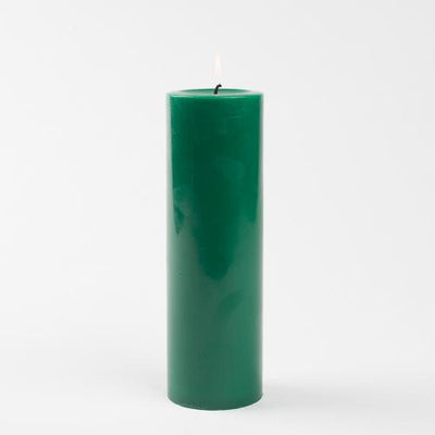 "Richland Pillar Candles 3""x9"" Dark Green Set of 24"