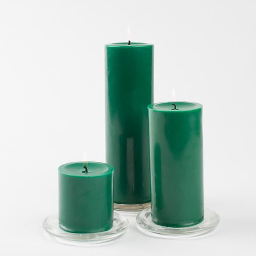 richland pillar candle 3 x3 dark green