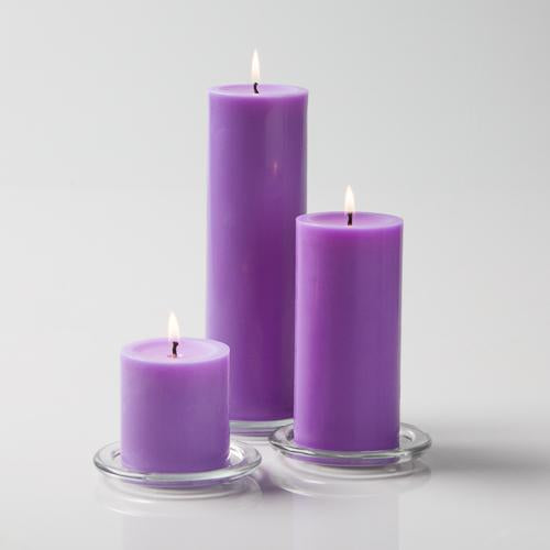 "Richland Pillar Candles 3""x3"", 3""x6"" & 3""x9"" Lavender Set of 36"