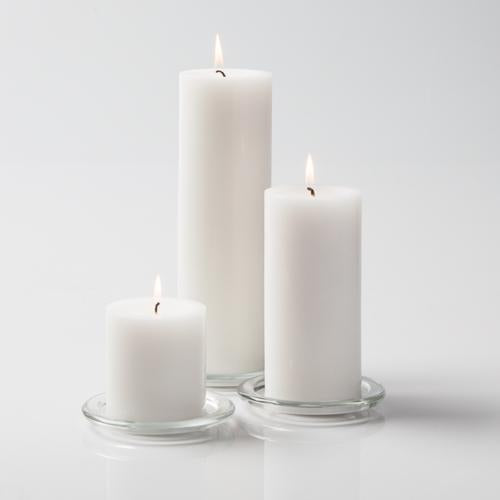 "Richland Pillar Candles 3""x3"", 3""x6"" & 3""x9"" White Set of 18"