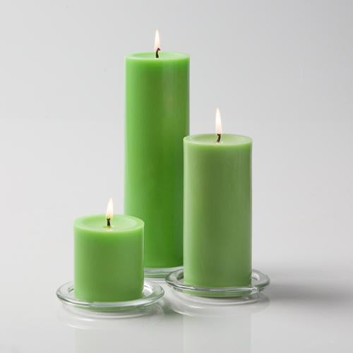 "Richland Pillar Candles 3""x3"", 3""x6"" & 3""x9"" Green Set of 3"