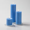 "Richland Pillar Candles 3""x3"", 3""x6"" & 3""x9"" Light Blue Set of 18"