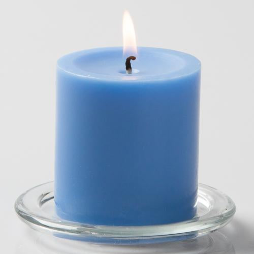 "Richland Pillar Candle 3""x3"" Light Blue Set of 48"