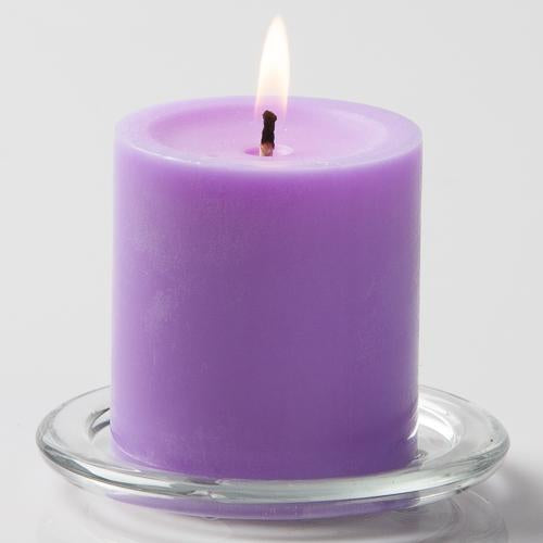 "Richland Pillar Candles 3""x3"" Lavender Set of 48"