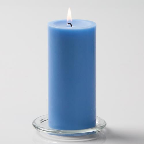 "Richland Pillar Candles 3""x6"" Light Blue Set of 24"