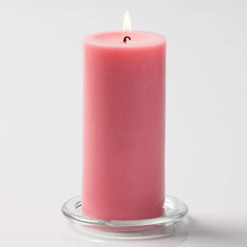 "Richland Pillar Candles 3""x6"" Pink Set of 24"