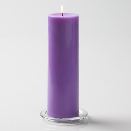 "Richland Pillar Candles 3""x9"" Lavender Set of 6"