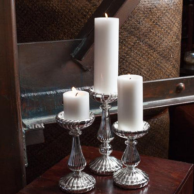 Eastland Ribbed Silver Mercury Glass Pillar Candle Holder 7""