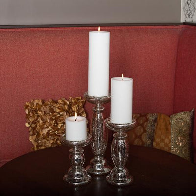 Eastland Unique Mercury Glass Pillar Candle Holder 8.5""
