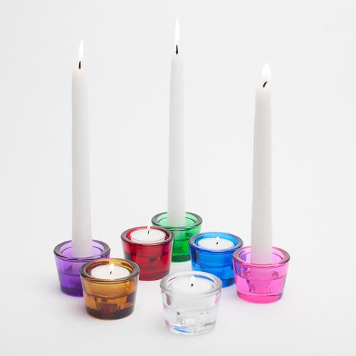 richland multi use tealight and taper holder purple set of 12