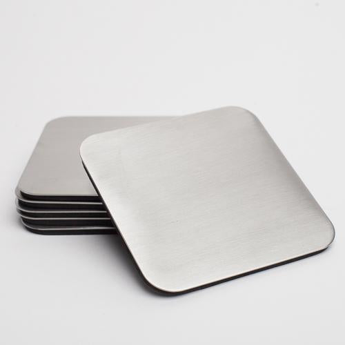 richland 4 x4 square stainless steel coaster set of 36