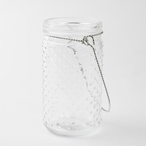 "Eastland 7.5"" Hanging Dotted Glass Jar with Handle Set of 6"